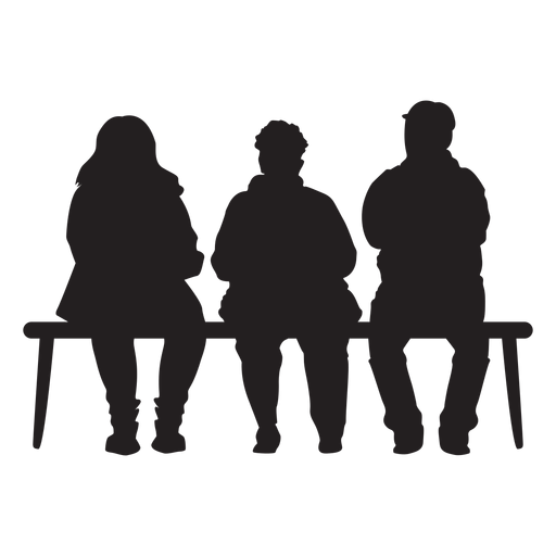 People sitting on bench silhouette.