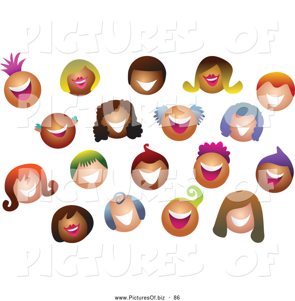 Vector Clipart of a Friendly Happy Crowd of Smiling Colorful.