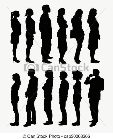 Clip Art Vector of People standing silhouettes.
