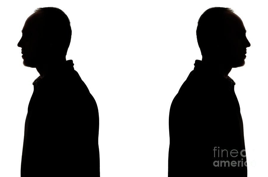Silhouette People Back To Back.