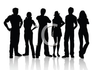 A Group of People Standing with a White Background.
