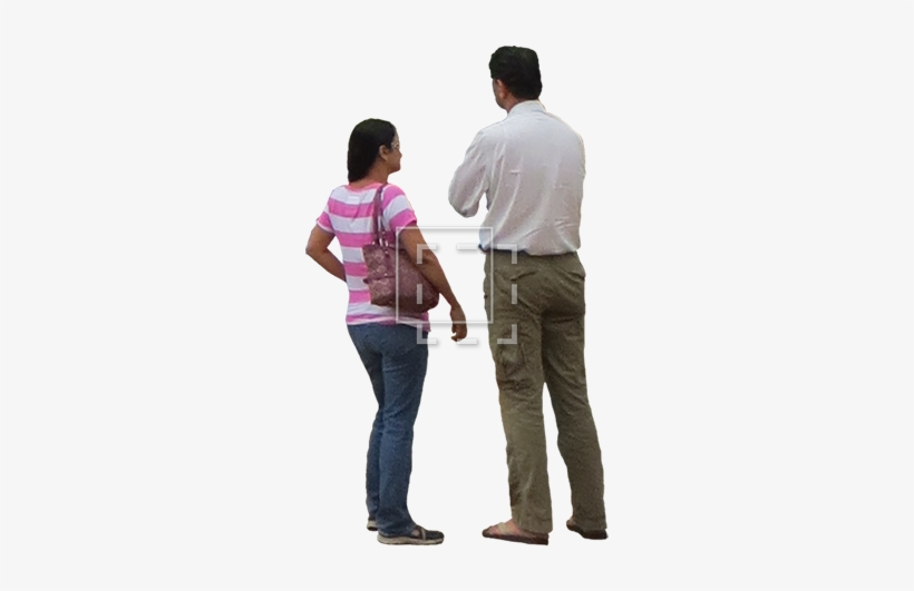 Cutout Photo Of Two Indecisive People Standing.