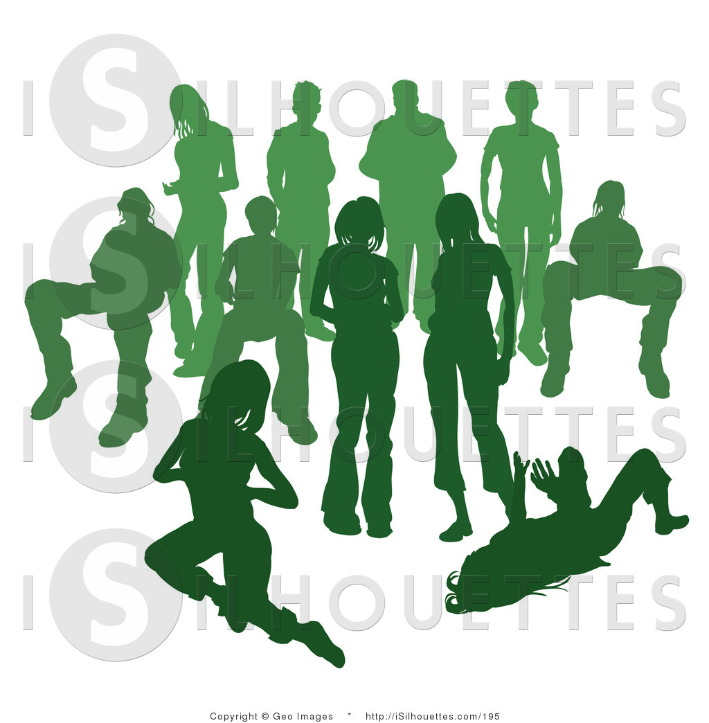 Silhouette Clipart of a Crowd of Green Silhouetted People.