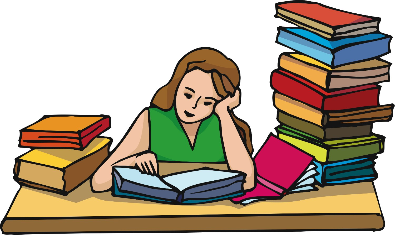 Person studying clipart.