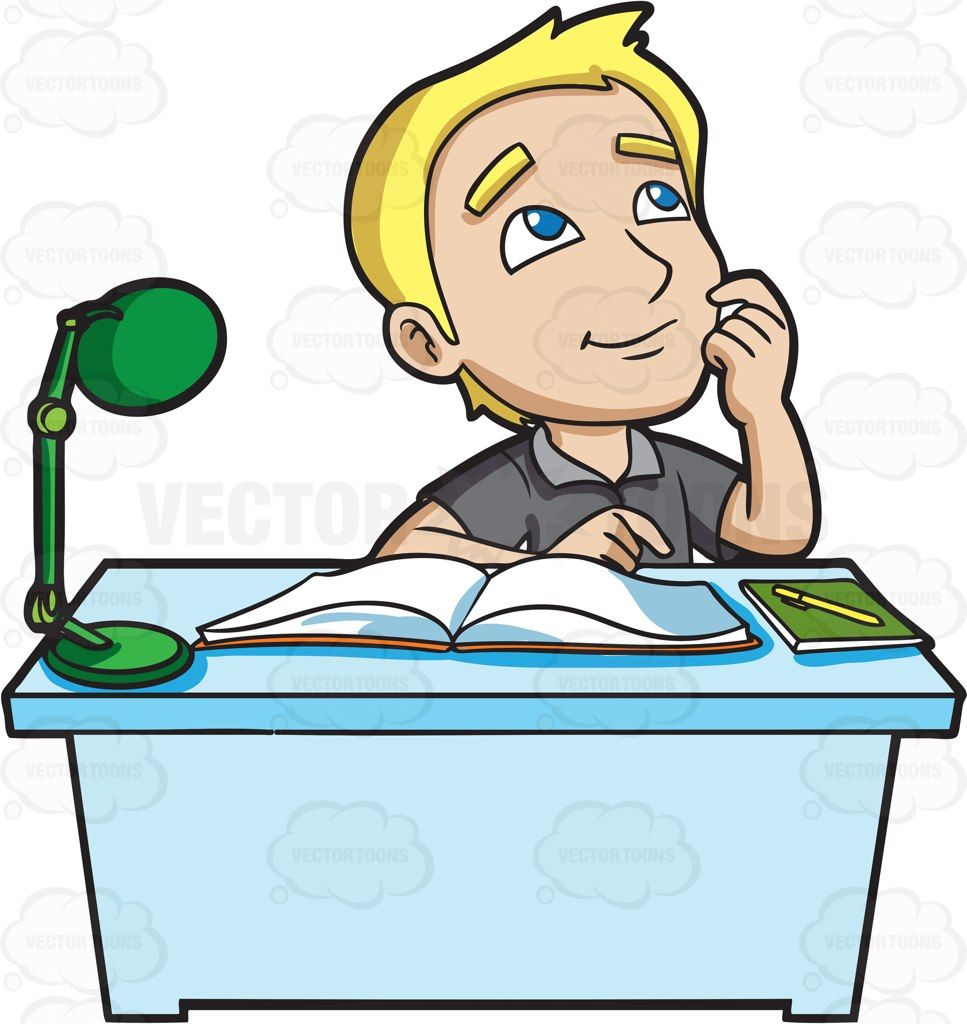 A young man daydreams while studying #cartoon #clipart.