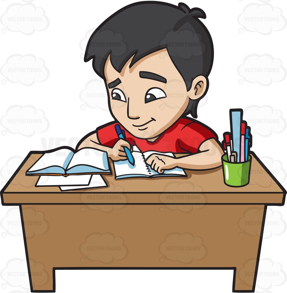 A young man studying happily for his exam #cartoon #clipart.