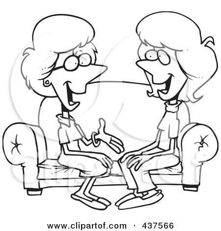 Two People Talking Black And White Clipart.