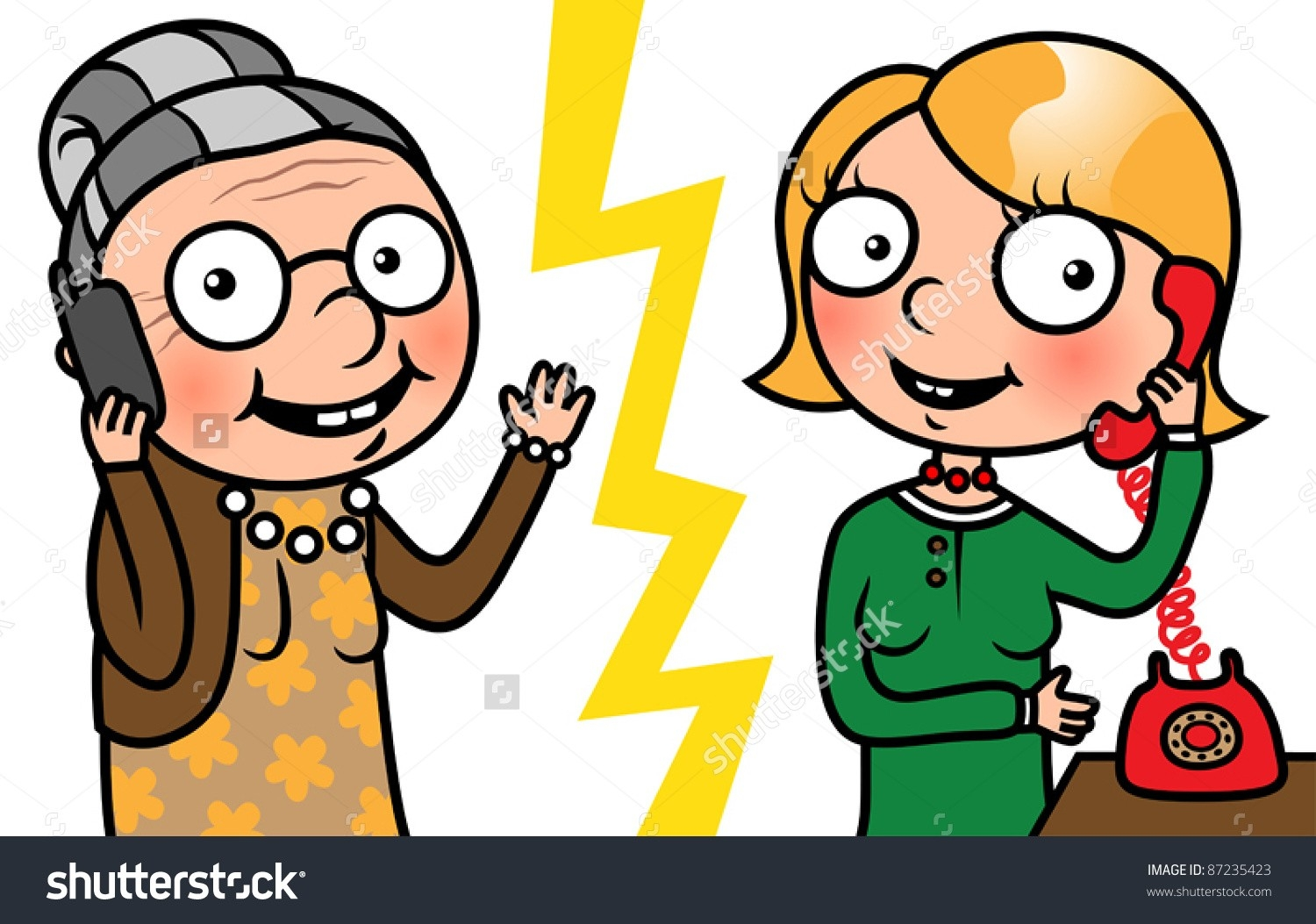 Two People Talking On The Phone Clipart.