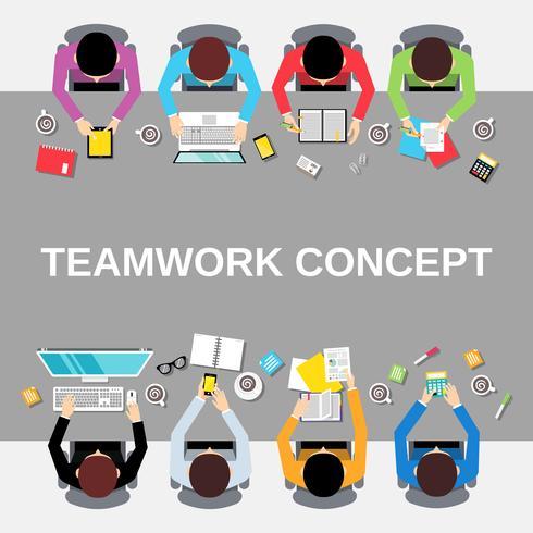 Teamwork people top view.