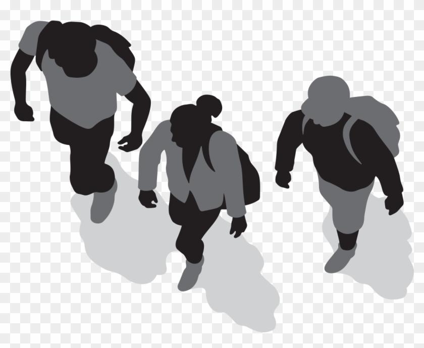 Three People Walking.