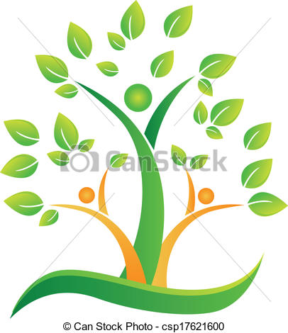 Vector Clipart of Tree with abstract people logo.
