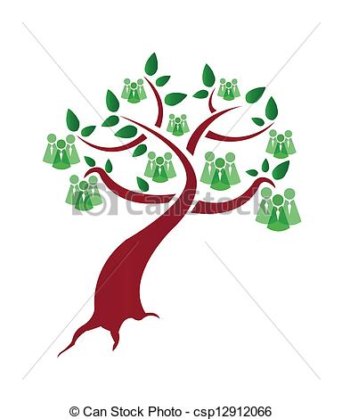 Clip Art Vector of green people tree illustration design over a.