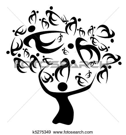 Clip Art of Human tree k7696369.