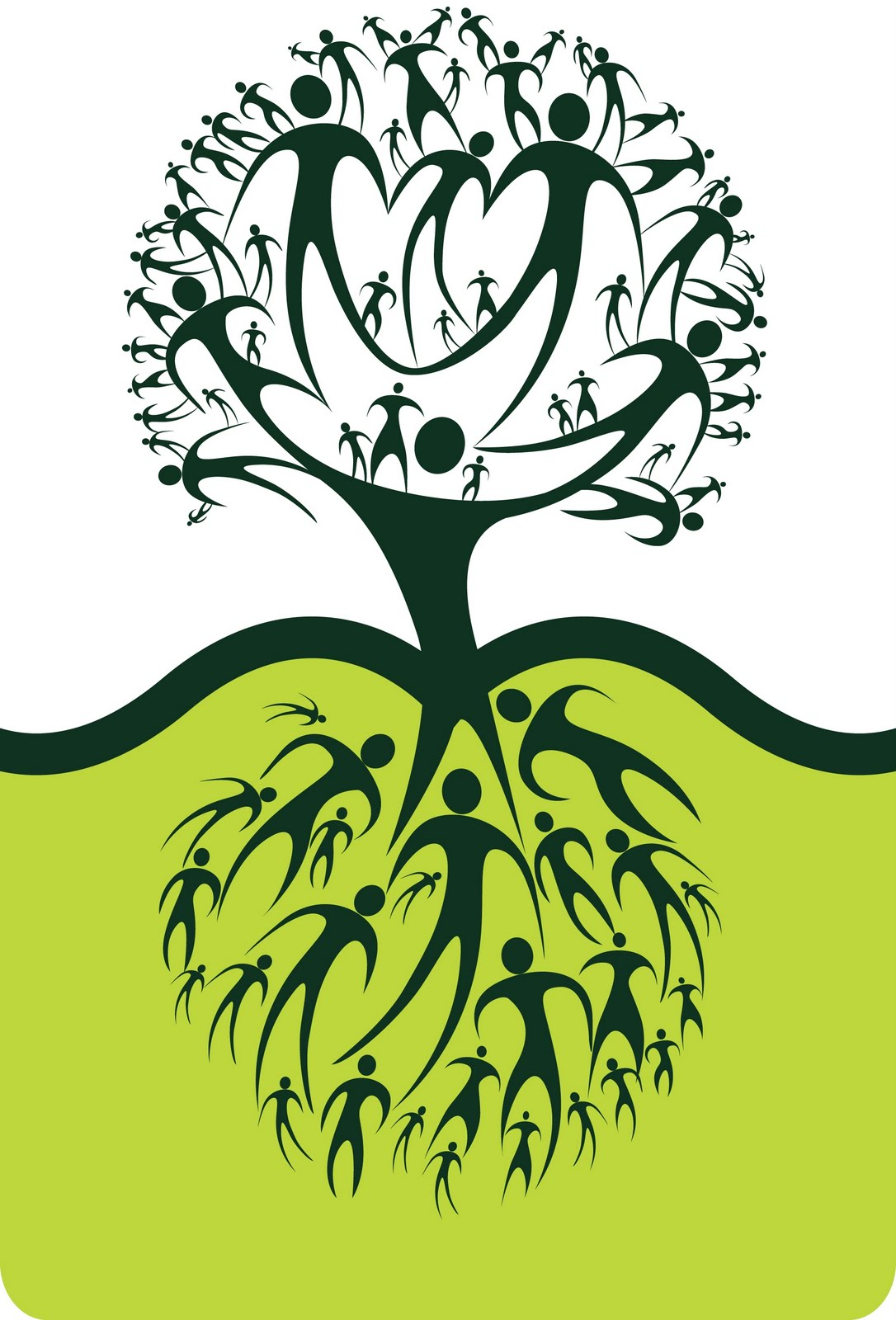 People by tree clipart.
