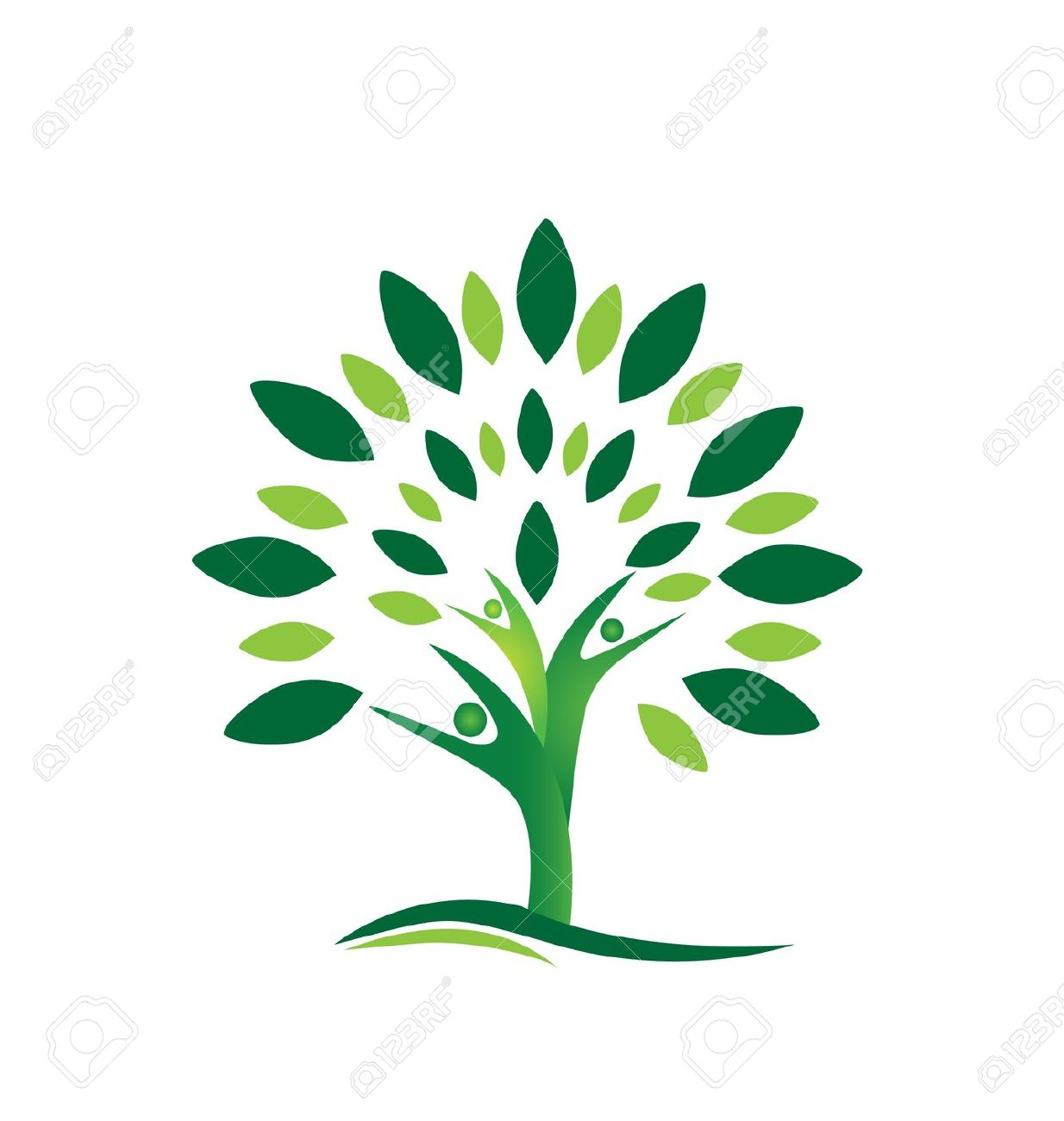 Teamwork People Tree Abstract Icon Background Royalty Free.