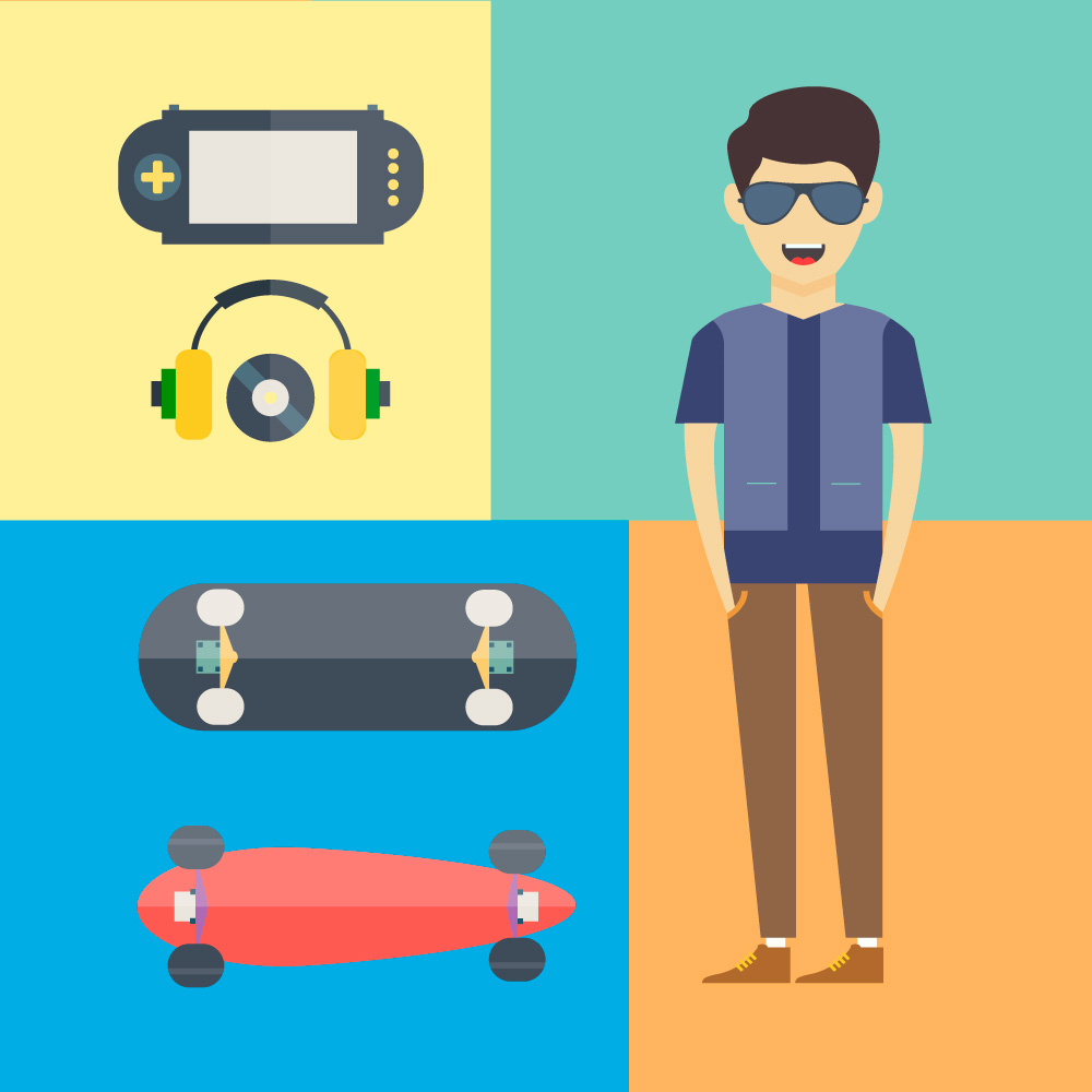 People vector characters with tools and objects. Free illustration.