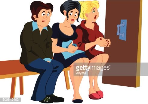Cartoon people waiting in line Clipart Image.