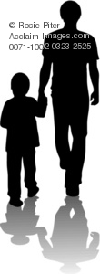 Clipart Illustration of a Silhouette of a Man and Child.