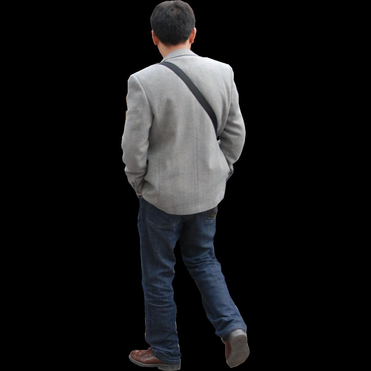 free cutout photo of a man walking away.