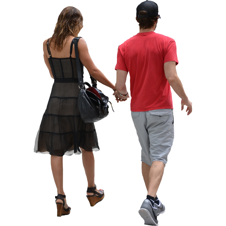 Back View of Couple Walking Away.