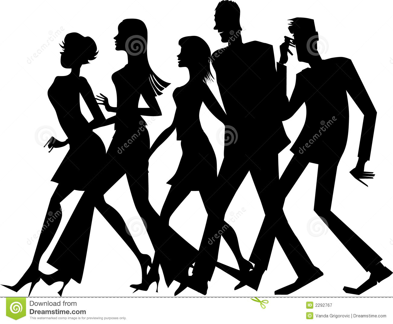 Group of people walking clipart.
