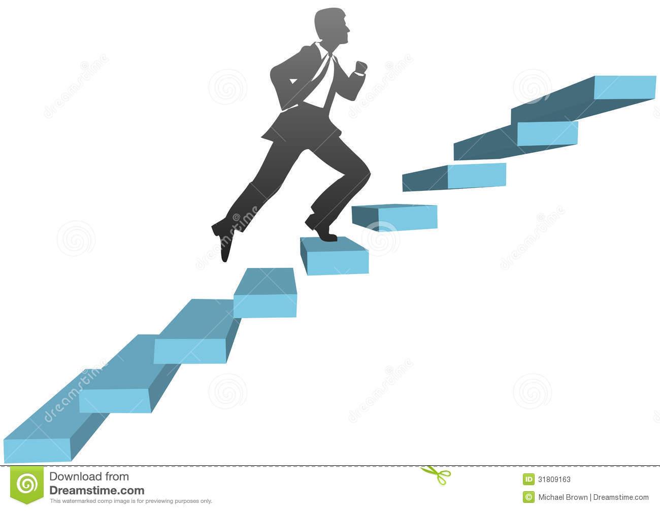 Man Climbing Steps Clipart.