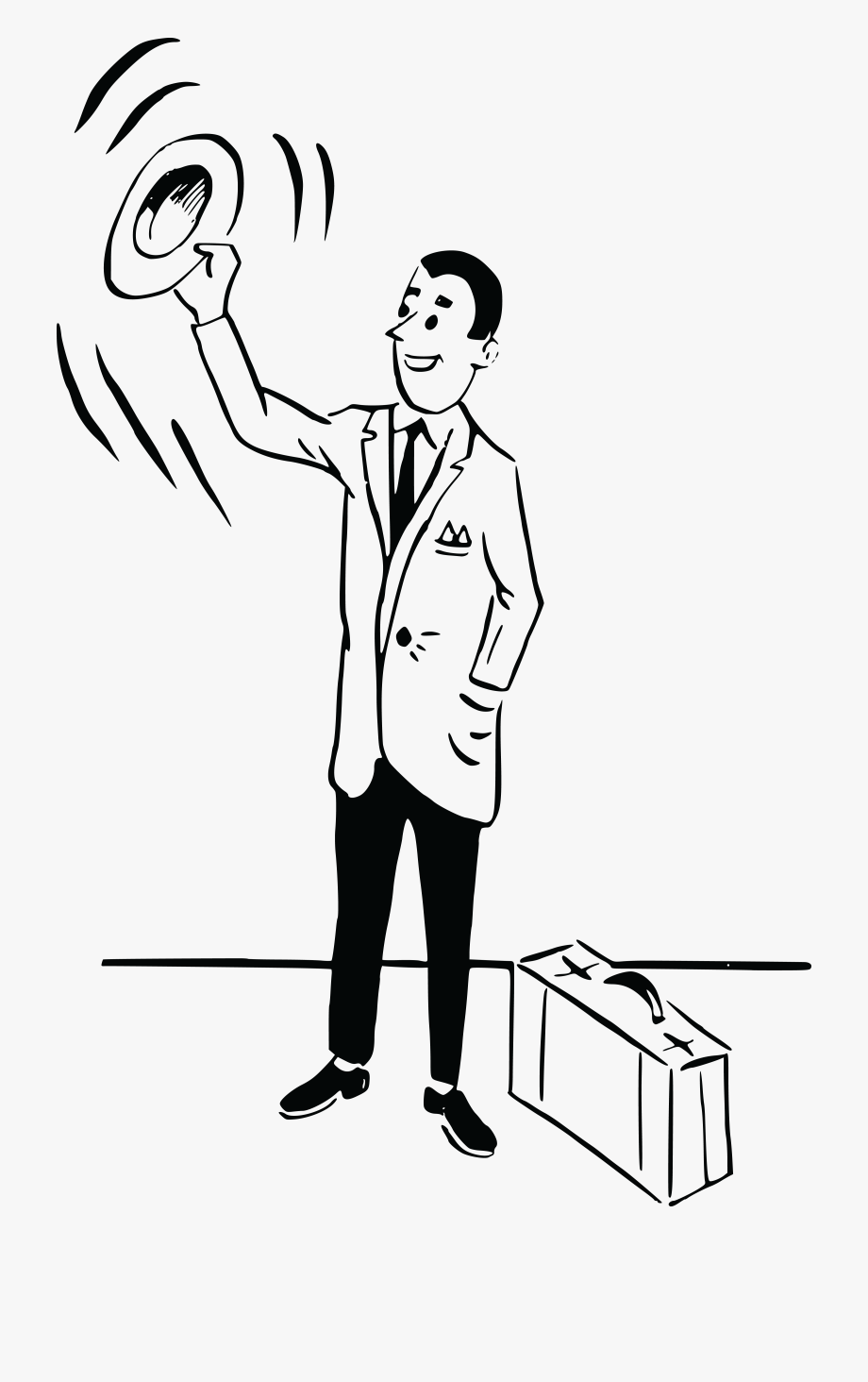 Free Clipart Of A Black And White Retro Man Waving.
