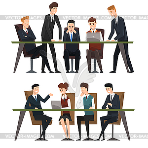 Group business people working in office. Men dresse.