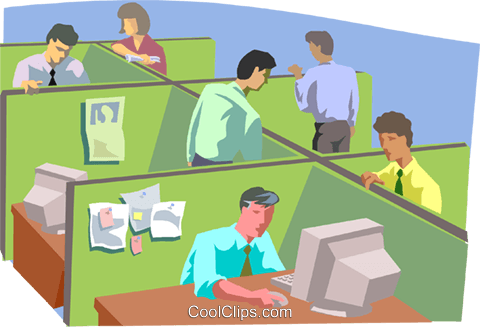 People working in office setting Royalty Free Vector Clip.