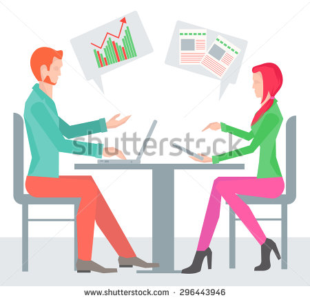 Two Business People Working On Laptop, Tablet Computers, Seated At.