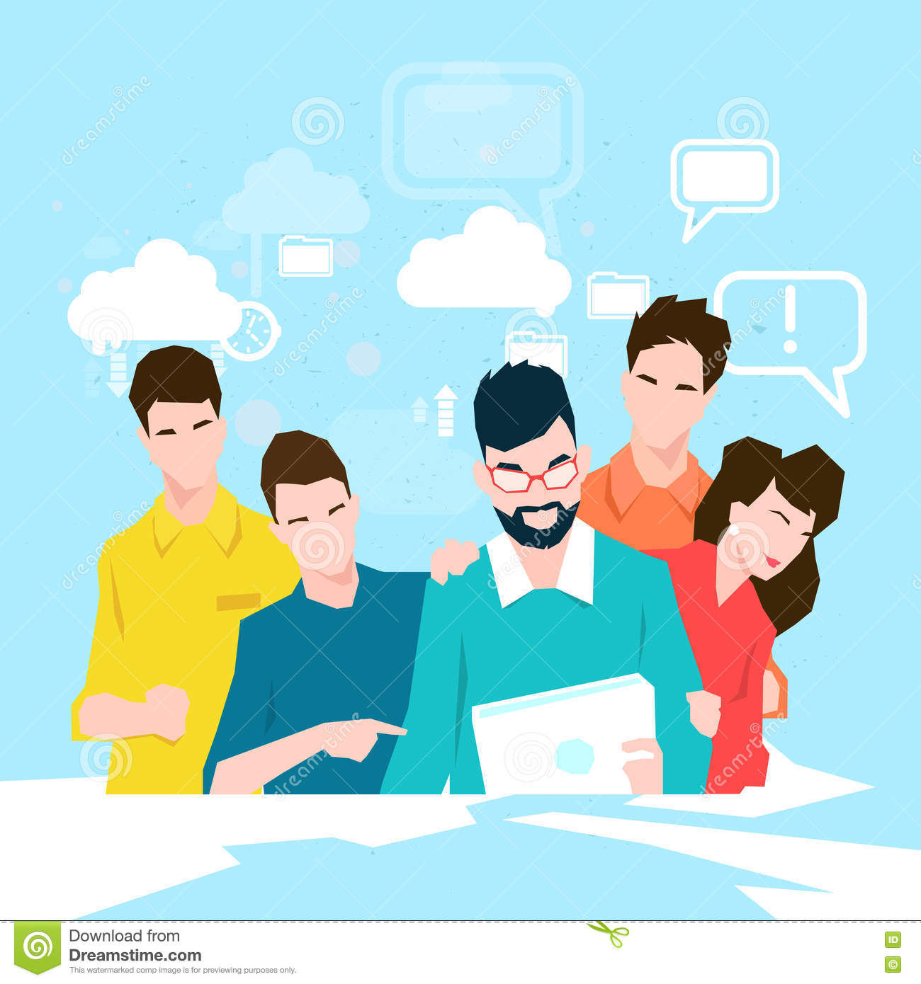 Business People Team Working With Tablet Computer Stock Vector.
