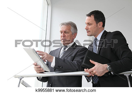 People Working On A Tablet Clipart.