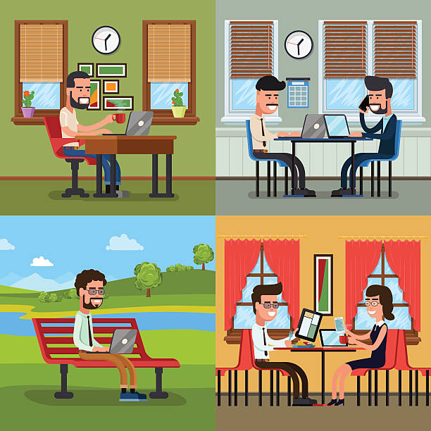 People In Various Actions With Laptop And Tablet Clip Art, Vector.