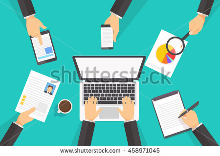 People Working On Laptop Flat Lay Stock Vector 446467879.