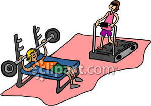People Working Out In A Gym.