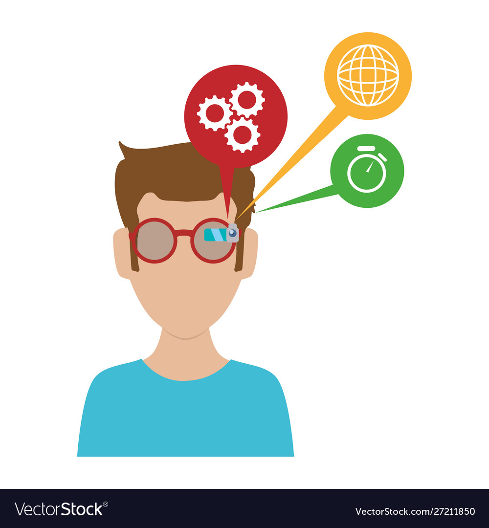 Man with smart glasses and apps menu vector image.