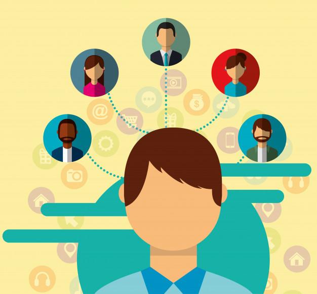 Homme portrait social media people connexion communauté.