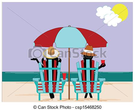 Clipart Vector of people on beach relaxing.