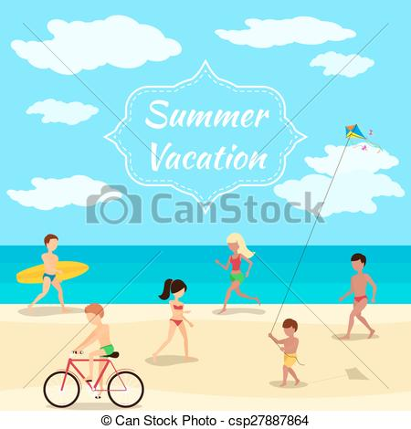 Clip Art Vector of Summer vacation background. People on beach.