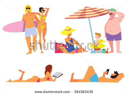 Woman Walking On Beach Stock Vectors, Images & Vector Art.