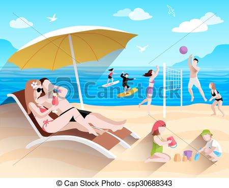 EPS Vector of People On Beach.