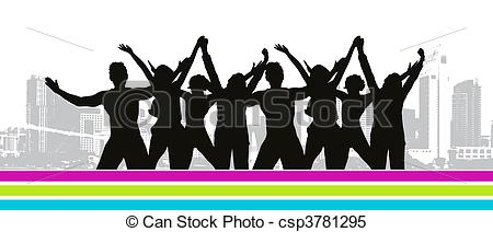 Clipart Vector of Funny peoples, cityscape csp3781295.