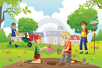 Kids Drawing Park Stock Photos Images Pictures