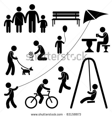 Man Family Children People Garden Park Activity Sign Symbol.
