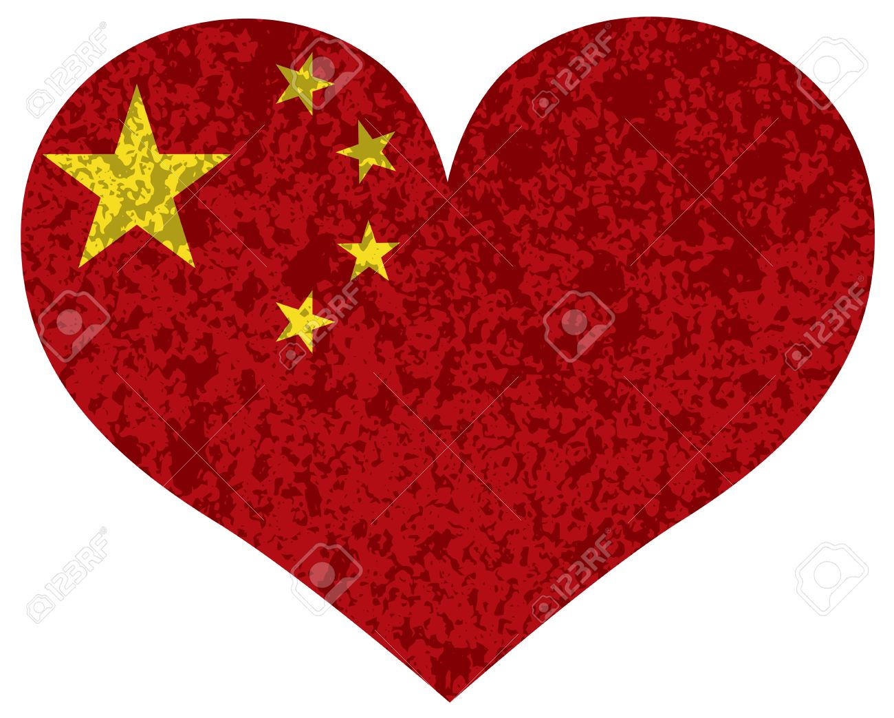 Peoples Republic Of China Flag In Heart Shape Silhouette Textured.