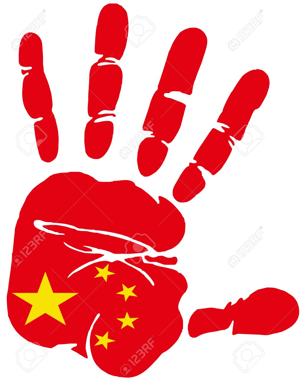 Hand Print Impression Of Flag Of Peoples Republic Of China Royalty.