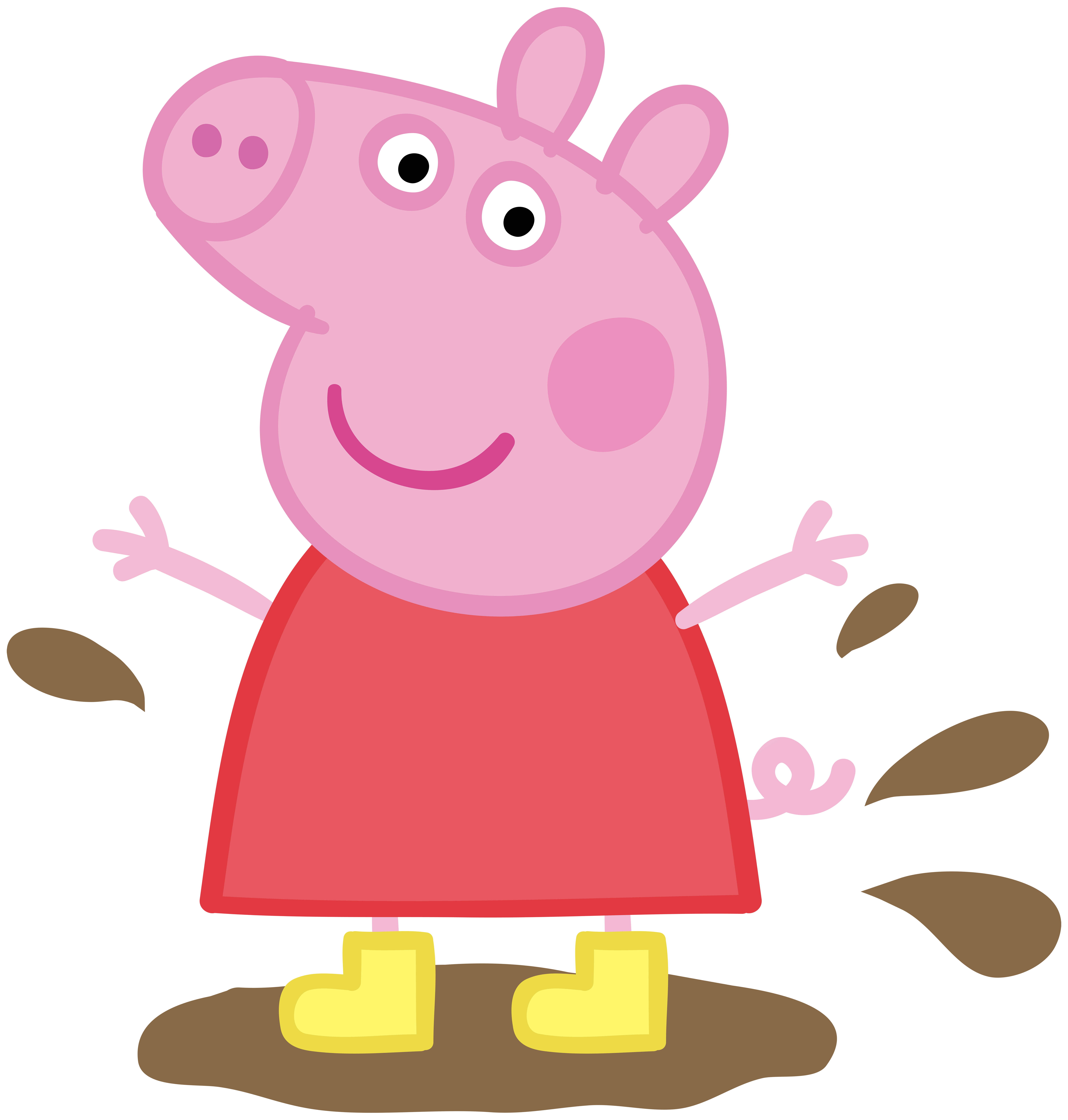 Peppa Pig in Muddy Puddle Transparent PNG Image.
