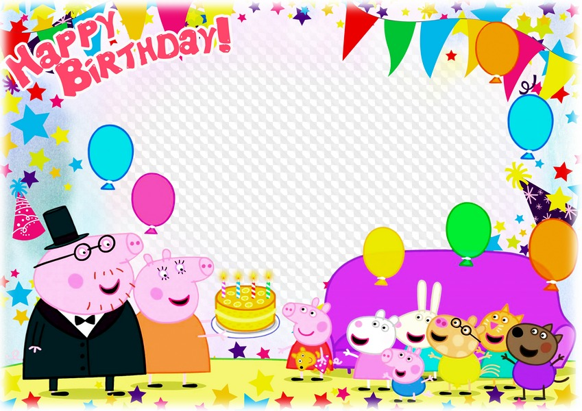 PSD, PNG, Horizontal photo frame with Peppa Pig, Happy.