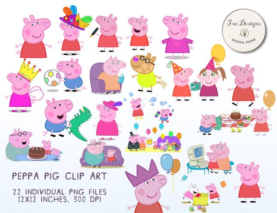 22x Peppa Pig Clipart Printable Images.