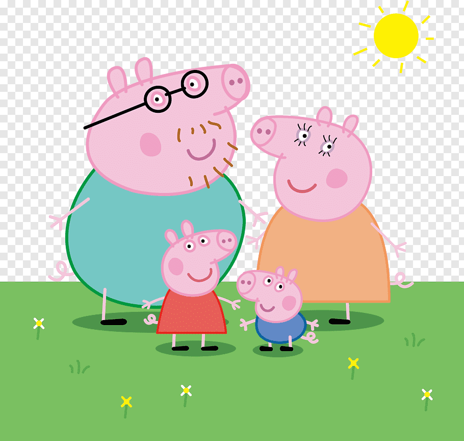 Peppa Pig family, Daddy Pig Domestic pig Drawing, Pig a free.